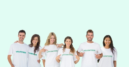 Digital composite of volunteers group Stock Photo