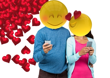 Digital composite of Couple feeling in love. Emoji face.