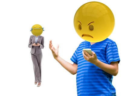 sphere standing: Digital composite of angry and laughing emoji