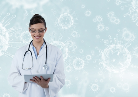 Digital composite of Happy doctor ( women) catching notes with molecule background