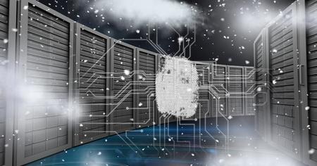 Digital composite of Digitally generated image of servers in sky