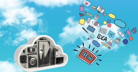 Digital composite of 3d image of various appliances and icons in sky