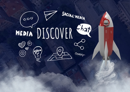Digital composite of 3D Rocket flying over city with Discover text with drawings graphics