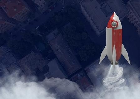 Digital composite of 3D Rocket flying over city