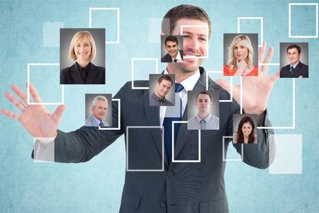 smolder: Digital composite of Happy businessman selecting candidates Stock Photo