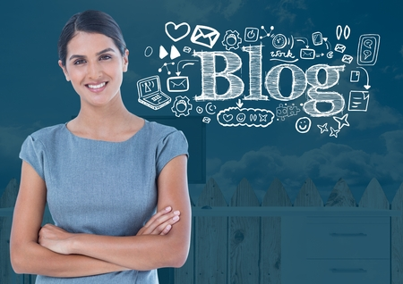 Digital composite of Woman with Blog text with drawings graphics