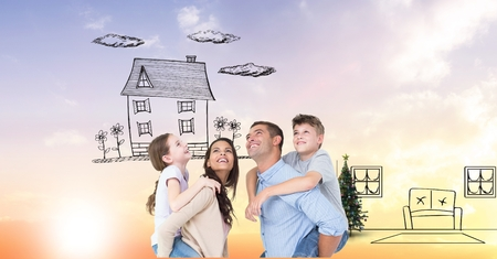 piggyback ride: Digital composite of Digital composite image of happy family imagining new home Stock Photo