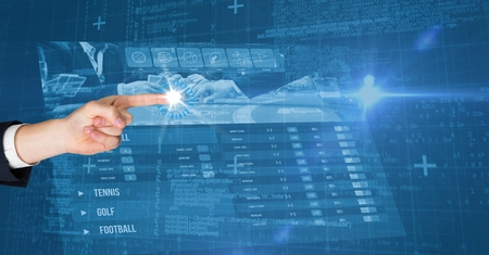 Digital composite of Digitally generated image of  hand touching futuristic screen Stock Photo