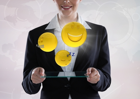 Digital composite of Business woman with glass device and emojis with flare against white interface