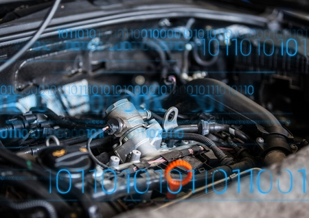 computer repairing: Digital composite of Car engine with blue binary code