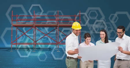 Digital composite of a group of architects looking a blueprint digital composite of a group of architects looking a blueprint and 3d scaffolding with blue background malvernweather Image collections