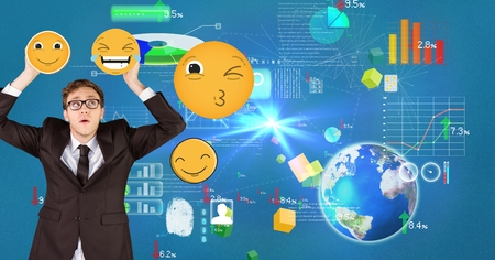 Digital composite of Confused businessman holding emojis with various icons in background