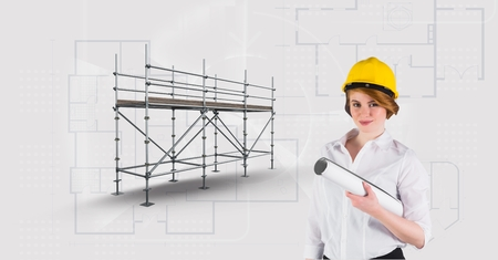Digital composite of Architect woman besaide 3D scaffolding with blueprint background
