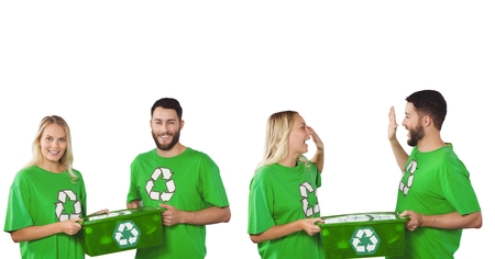 Digital composite of couple recycling