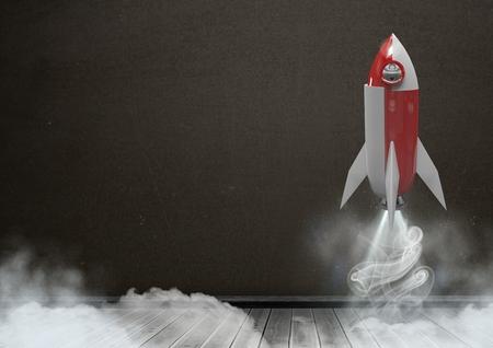 floorboards: Digital composite of 3D Rocket flying in front of blackboard
