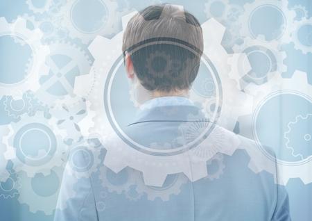 Digitale samenstelling van rug van de bedrijfsmens met toestel grafische bekleding Stockfoto
