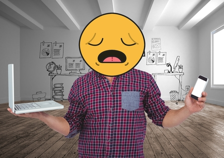 tired businessman: Digital composite of Desperate emoji with his job.