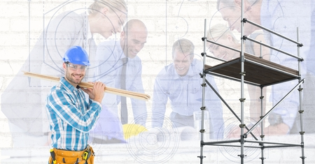 Digital composite of Happy builder with wood beside 3D scaffolding with group of architects background