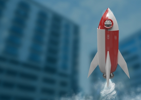 Digital composite of 3D Rocket flying against buildings
