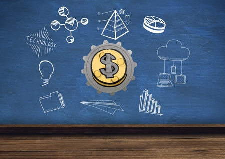 Digital composite of 3D cog about money with graphic about economy and technology