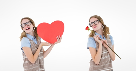Digital composite of Multiple image of woman holding heart and rose over white background