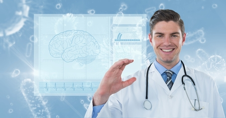 pathogen: Digital composite of Digitally generated image of male doctor with various organism and brain vector in background