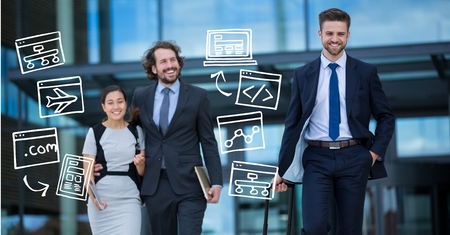 Digital composite of Business people with various icons Stock Photo