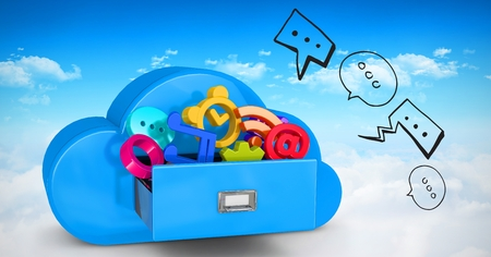 Digital composite of 3d image of various icons in cloud shaped drawer Stock Photo