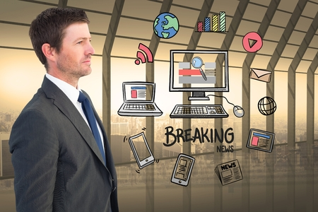 Digital composite of Businessman looking at various icons surrounding computer and breaking news