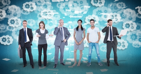 Digital composite of Digital composite image of business people with gear background Stock Photo