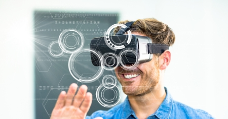 affection: Digital composite of Digital composite image of smiling man using VR glasses Stock Photo