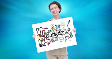 well dressed woman: Digital composite of Portrait of businesswoman holding billboard with business text and various icons against blue backgr