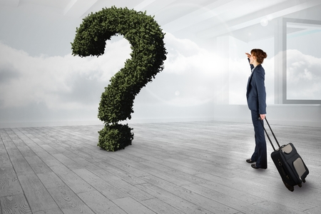 dreariness: Digital composite of Businesswoman with bag looking at question mark made of plants