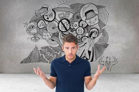 Digitální kompozit zmateného člověka agaijnst různé ikony v pozadí