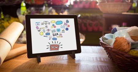 Digitale samenstelling van Diverse pictogrammen en tekst in digitale tablet door mand en document op lijst