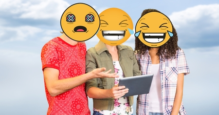 higher intelligence: Digital composite of People using tablet PC with emojis over faces