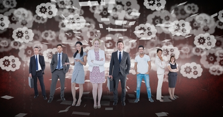 multiracial: Digital composite of Digitally generated image of business people standing with gears flying in background