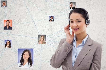 Digital composite of Confident HR wearing headphones while selecting candidates Stock Photo