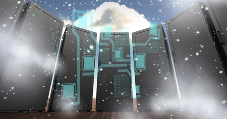 floorboards: Digital composite of Digitally generated image of servers with various icons in sky