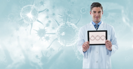 doctor tablet: Digital composite of Digitally generated image of male doctor showing DNA structure in tablet computer against organism g Stock Photo