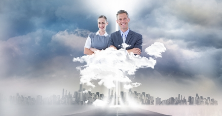 Digital composite of Digitally generated image of business people over city in sky Stock Photo