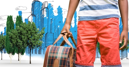 Digital composite of Digitally generated image of man holding bag while standing with buildings drawn in background