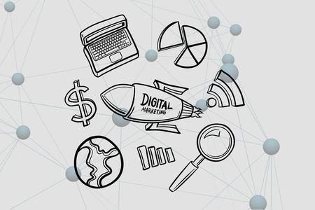 さまざまなアイコンによって書かれロケット デジタル マーケティングのデジタル合成画像のデジタル合成