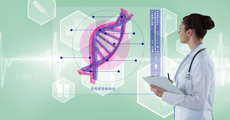 Digital composite of Female doctor analyzing DNA structure on screen Stock Photo
