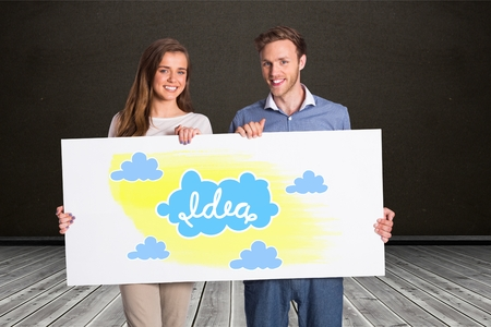 floorboards: Digital composite of Happy couple holding billboard with idea and cloud signs