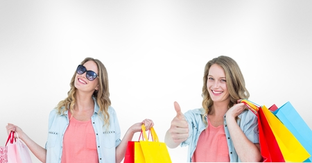pressing: Digital composite of Multiple image of woman with shopping bags