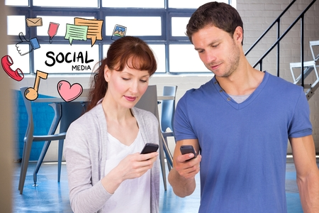 Digital composite of Man and woman using social media on smart phones
