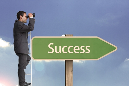 peering: Digital composite of Side view of businessman using binoculars while standing on ladder by succees text on sign board aga Stock Photo