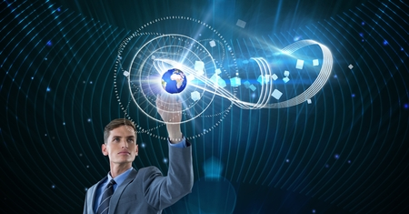 businesswear: Digital composite of Digital composite image of businessman touching globe on futuristic screen Stock Photo