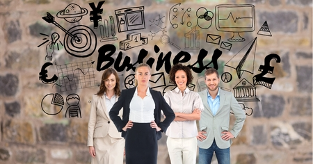 well dressed woman: Digital composite of Digital composite image of business people with various icons Stock Photo
